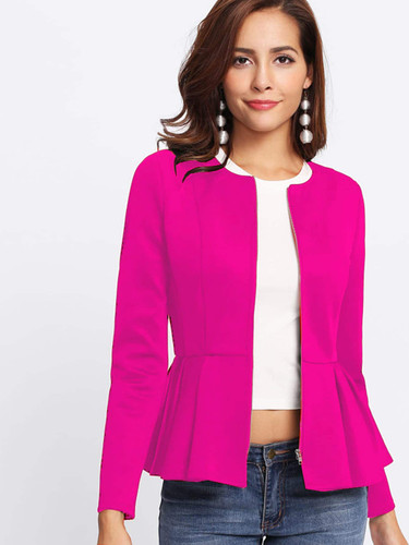Zipper Up Peplum Hem Jacket