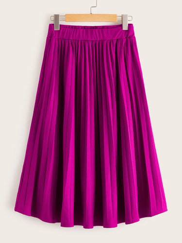 Solid Pleated High Rise Jumper Skirt