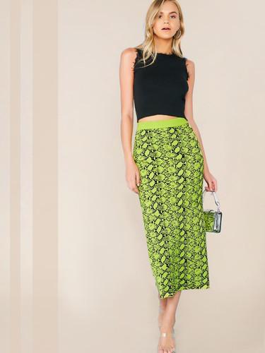 Wide Waistband Snakeskin Jumper Skirt