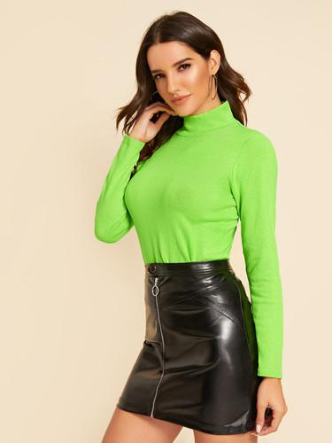 Neon Green Stand Collar Jumper