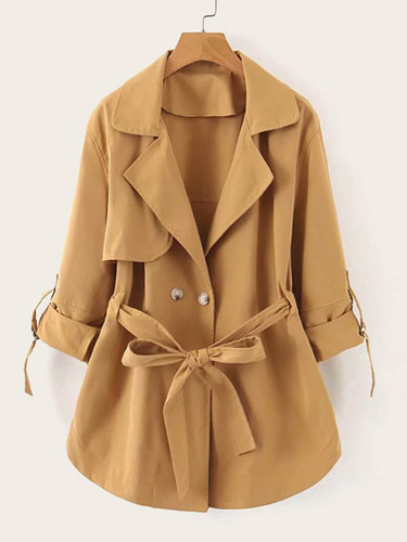 Lapel Neck Roll Up Sleeve Belted Trench Coat