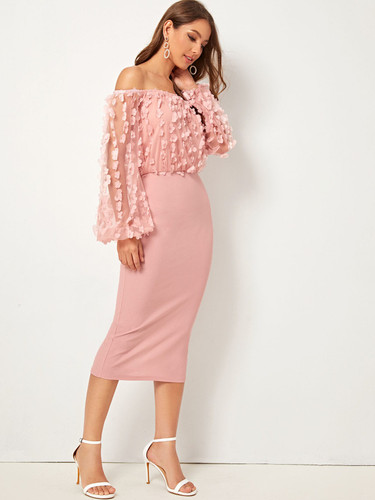 Appliques Mesh Puff Sleeve Bardot Pencil Dress