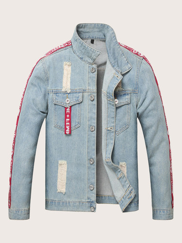 Men Light Wash Ripped Patched Denim Jacket