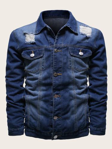 Men Western Flap Pocket Ripped Denim Jacket