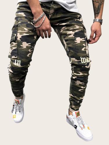 Men Camo & Letter Print Tape Side Trousers