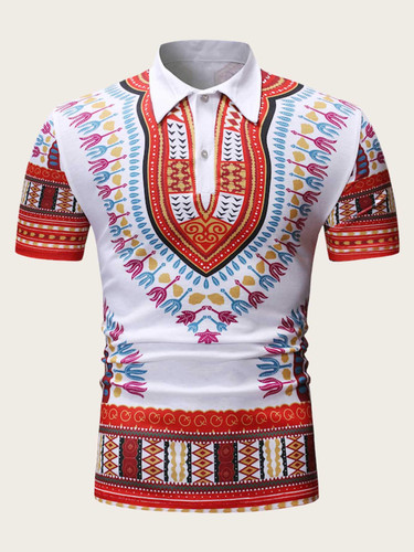 Men Half Placket Tribal Print Polo Shirt