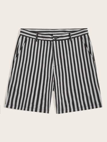 Men Slant Pocket Striped Shorts