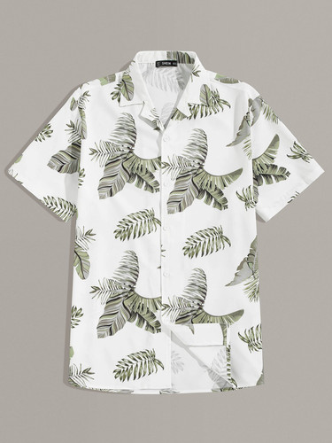 Men Revere Collar Tropical Print Shirt