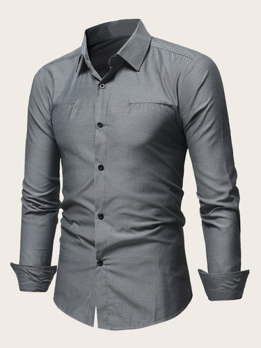Men Solid Curved Hem Shirt