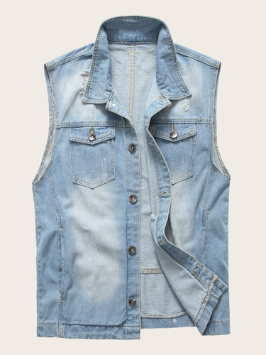 Men Ripped Sleeveless Denim Jacket
