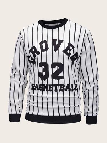 Men Crew Neck Striped Letter Print