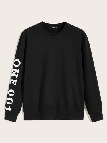 Men Crew Neck Slogan Print Pullover (v. Black)