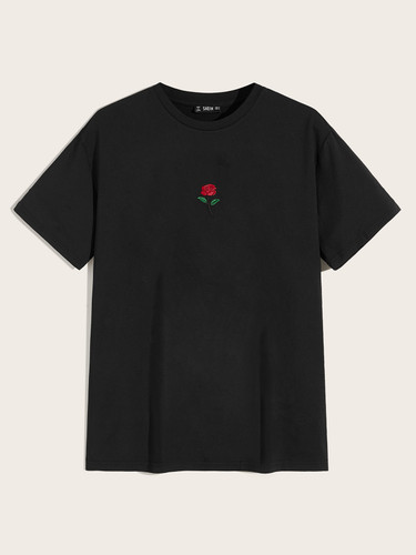 Men Embroidered Rose Tee