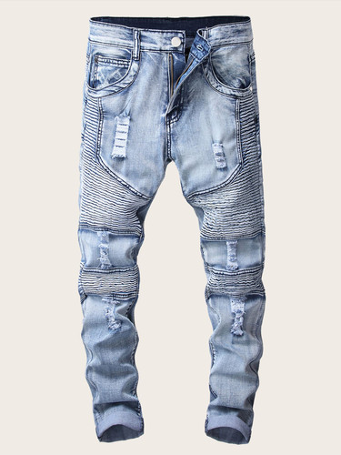 Men Zipper Ripped Washed Jeans