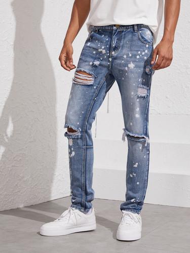 Men Paint-splattered Ripped Jeans