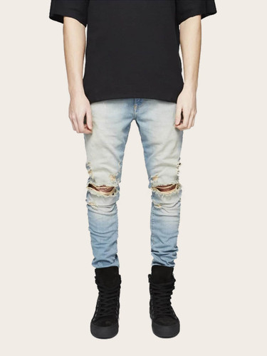 Men Ripped Washed Faded Jeans