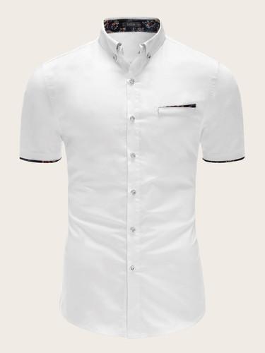 Men Botanical Print Shirt (v. White)