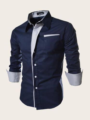 Men Striped Button Front Shirt (v. Navy)