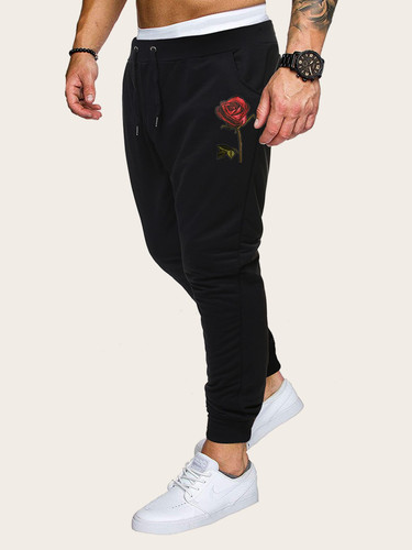 Men Rose Embroidery Drawstring Waist Trousers