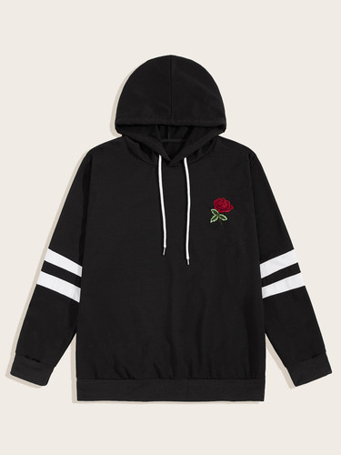 Men Drawstring Contrast Striped Embroidery Hoodie