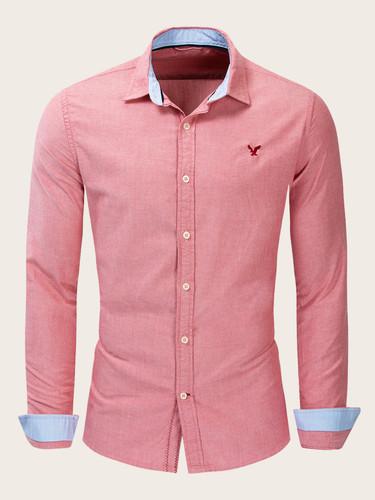 Men Eagle Embroidery Button Through Shirt