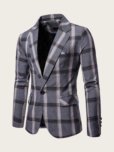 Men Flap Pocket Single Button Plaid Blazer