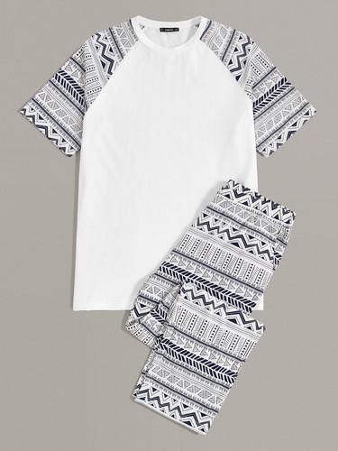 Men Tribal Print Raglan Sleeve Tee and Trousers PJ Set