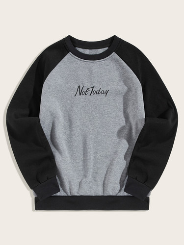 Men Contrast Raglan Sleeve Letter Embroidery Sweatshirt