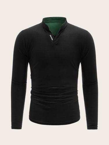 Men Notched Neck Letter Print Polo Shirt (v. Black)