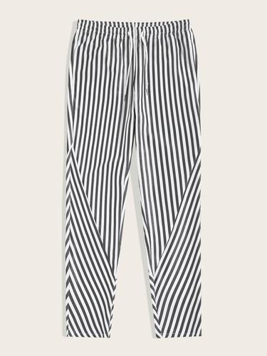 Men Drawstring Waist Striped Trousers (v. Black and white)