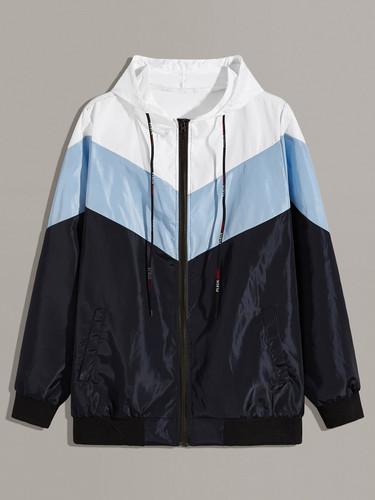 Men Chevron Cut And Sew Hooded Windbreaker Jacket