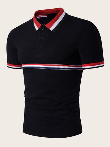 Men Contrast Collar Striped Tape Polo Shirt