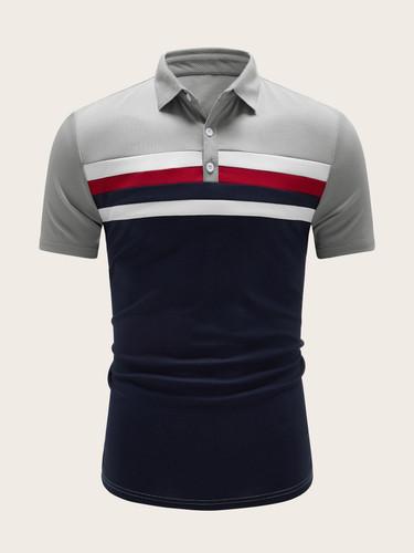 Men Colour-block Striped Polo Shirt (v. Navy)