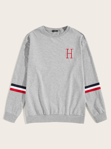 Men Embroidered Letter Striped Tape Sleeve Pullover