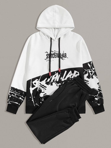 Men Letter Print Drawstring Hoodie With Joggers