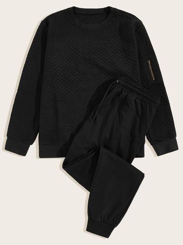 Men Zip Detail Sweatshirt With Drawstring Waist Trousers