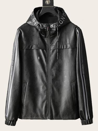 Men Letter Print Drawstring Hooded PU Jacket