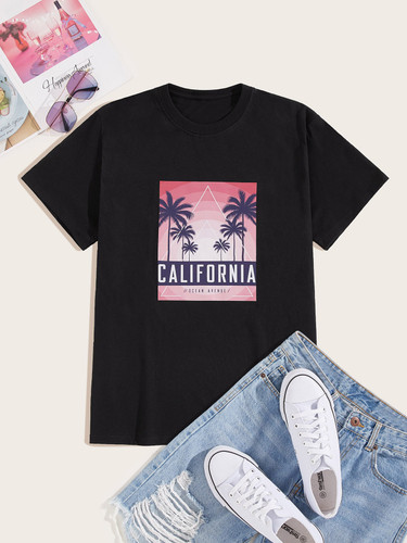 Men Letter And Tropical Print Tee