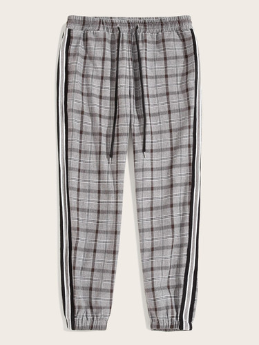 Men Drawstring Waist Striped Side Plaid Trousers