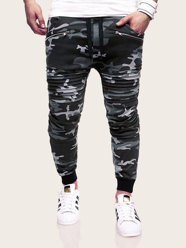 Men Camouflage Print Drawstring Waist Zipper Trousers