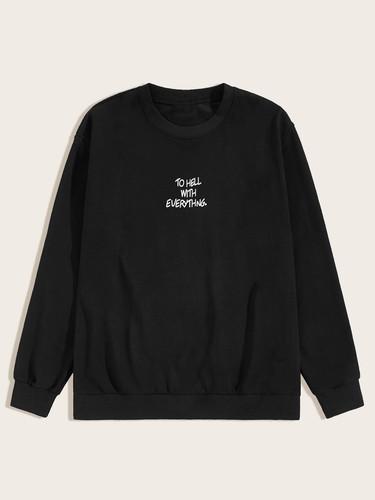 Men Slogan Print Drop Shoulder Sweatshirt