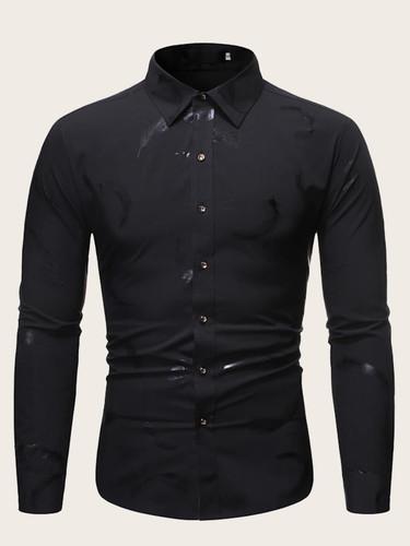 Men Feather Print Long Sleeve Shirt