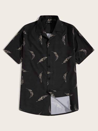 Men Leaf Print Revere Collar Shirt