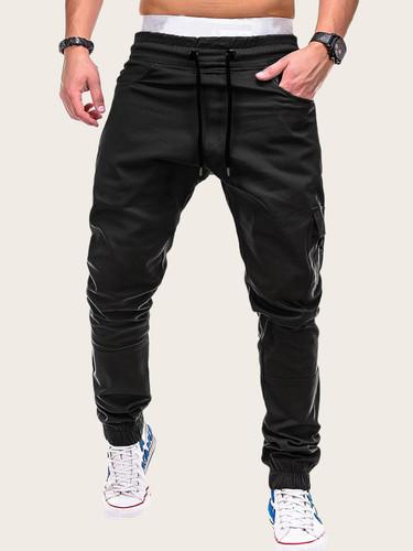 Men Drawstring Waist Zip Detail Flap Pocket Trousers