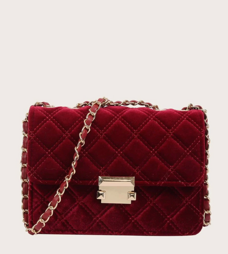 Quilted Velvet Shoulder Bag