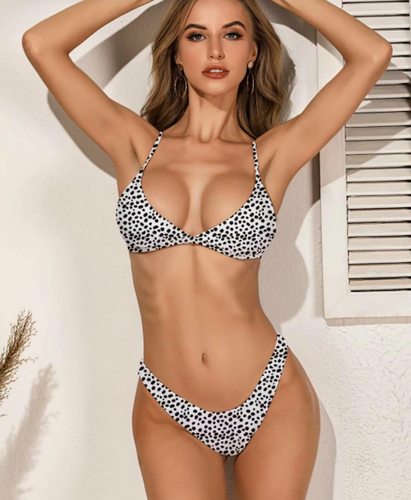 Dalmatian Triangle High Cut Bikini Swimsuit