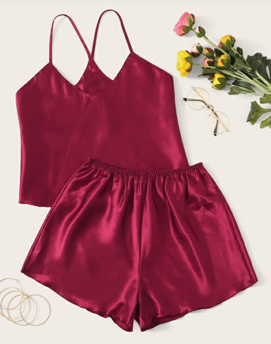 Satin Cami Top & Shorts PJ Set - Burgundy
