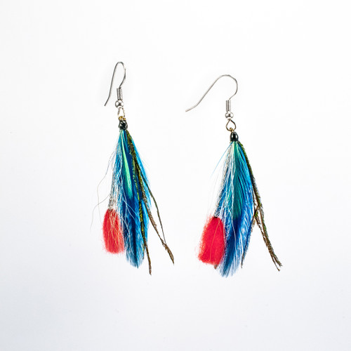 Gorgeous teal feathers with silver strands and a coral pop.
