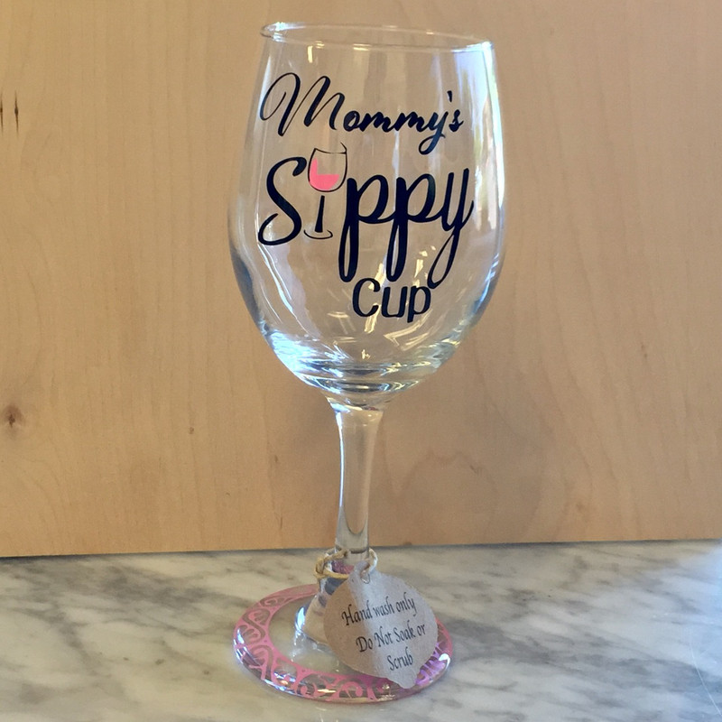 """""""Mommy's Sippy Cup"""" - Pink, Wine Glass"""