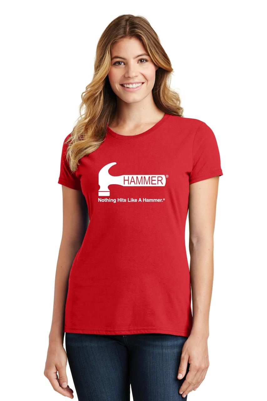Hammer - Bright Red Tee - Ladies Crew